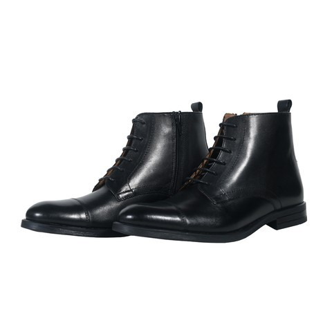 Black Leather Boot for Men-009506