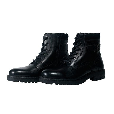 Black Leather Boot for Men-219W1121