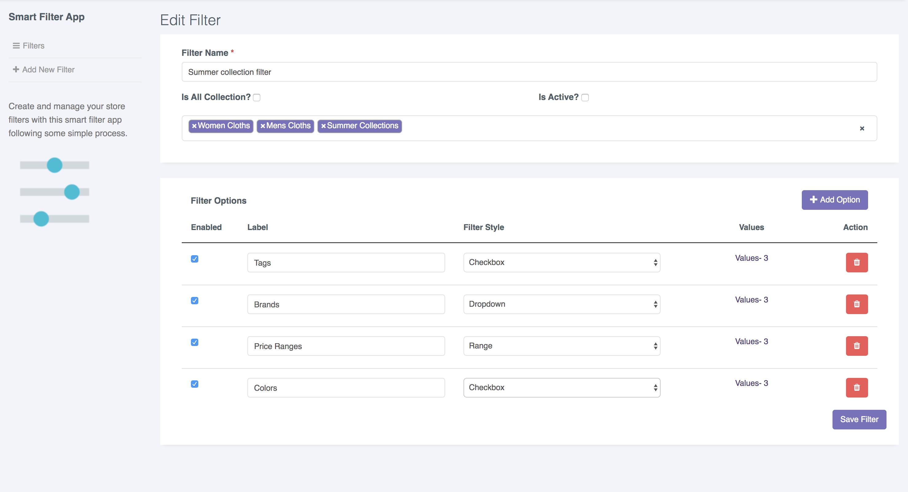 Filter App Create Edit Page | Storrea