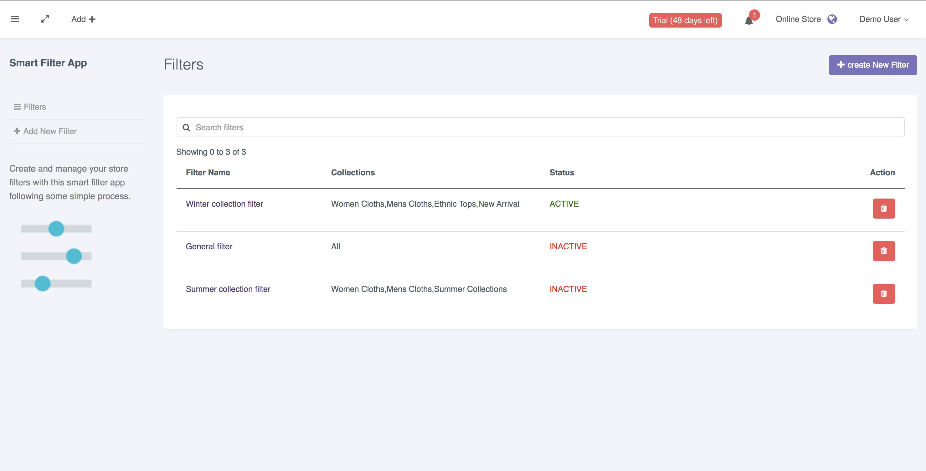 Filter App Index | Storrea