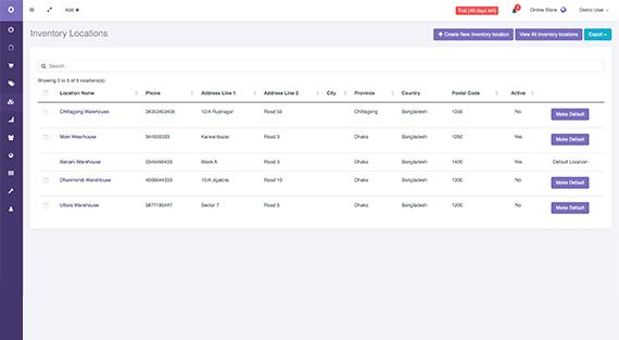 Inventory Location Index | Storrea